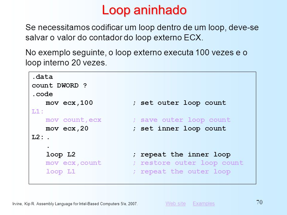 Loop aninhado Se necessitamos codificar um loop dentro de um loop, deve-se salvar o valor do contador do loop externo ECX.