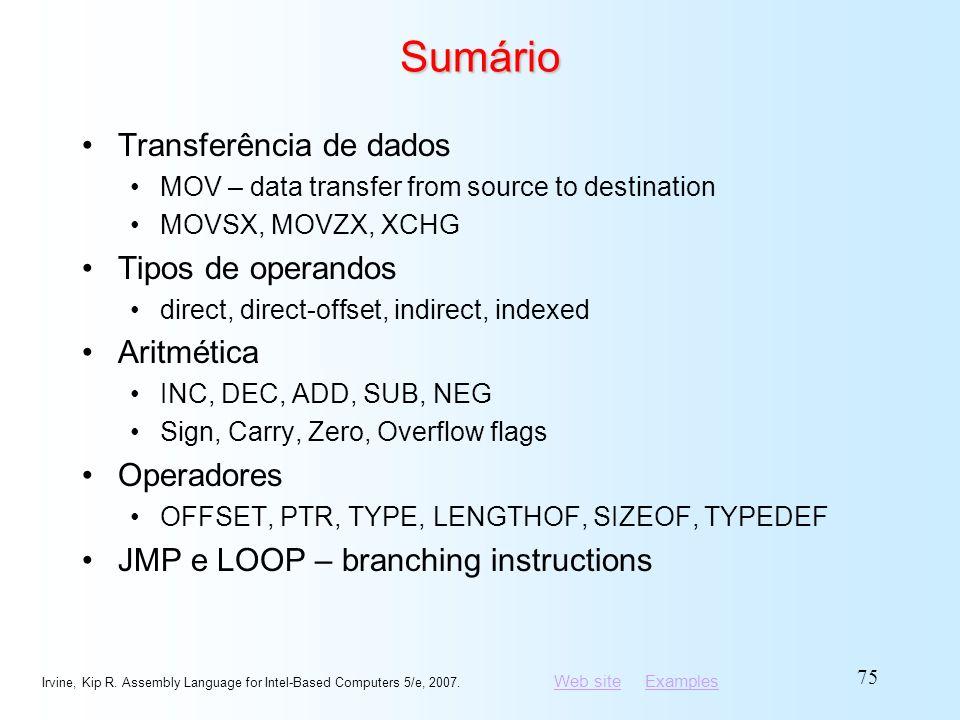 Sumário Transferência de dados Tipos de operandos Aritmética