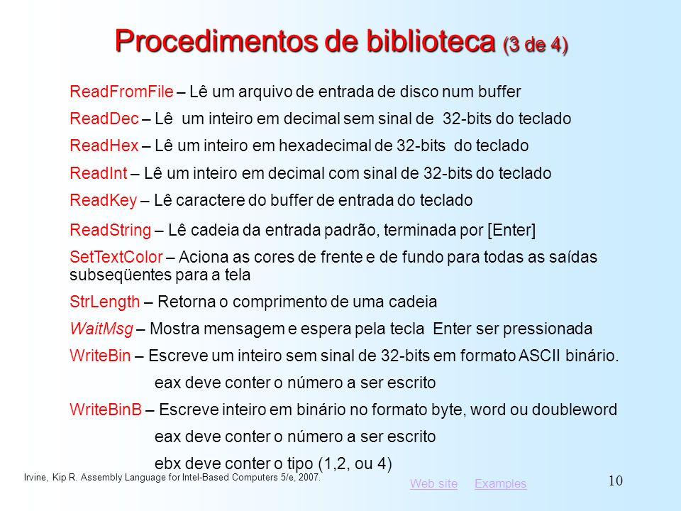 Procedimentos de biblioteca (3 de 4)
