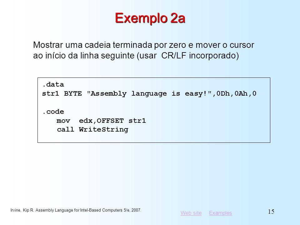 Exemplo 2a Mostrar uma cadeia terminada por zero e mover o cursor ao início da linha seguinte (usar CR/LF incorporado)