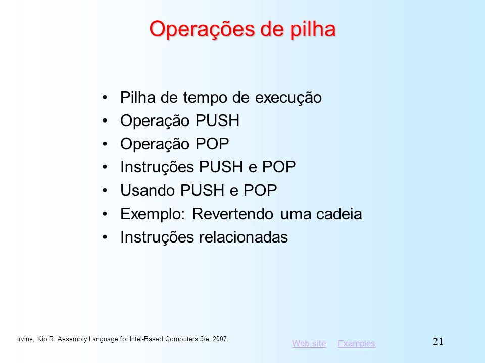 Operações de pilha Pilha de tempo de execução Operação PUSH