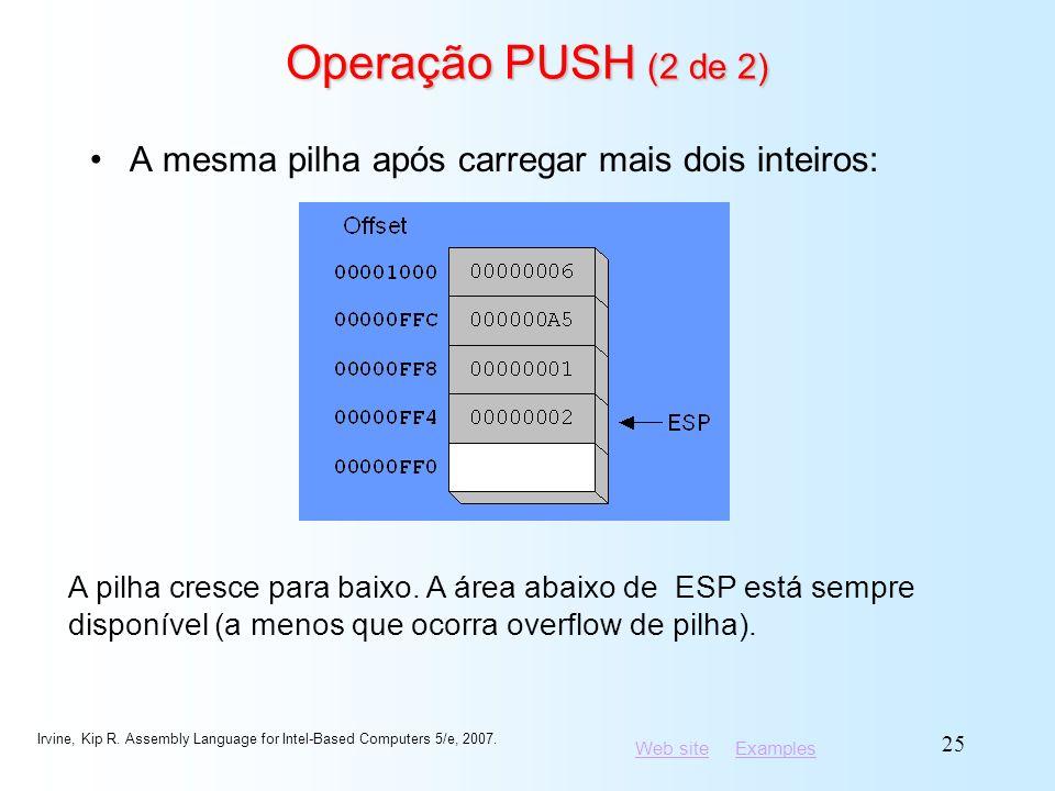 Operação PUSH (2 de 2) A mesma pilha após carregar mais dois inteiros: