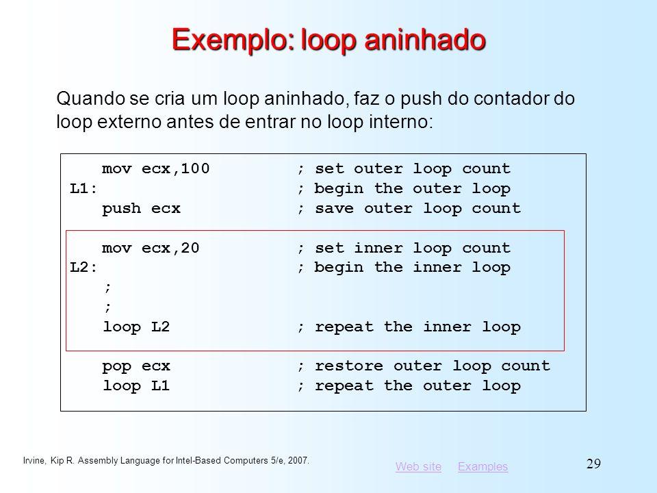 Exemplo: loop aninhado