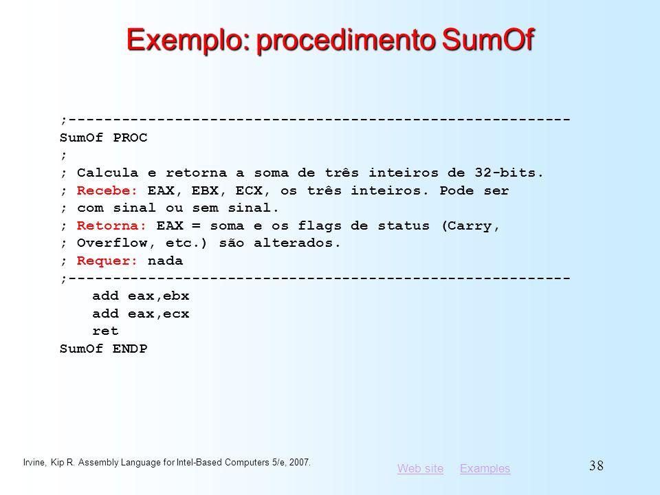 Exemplo: procedimento SumOf