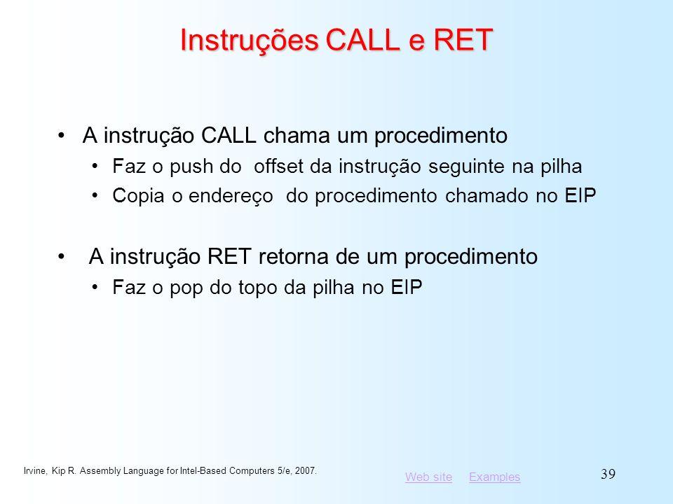 Instruções CALL e RET A instrução CALL chama um procedimento