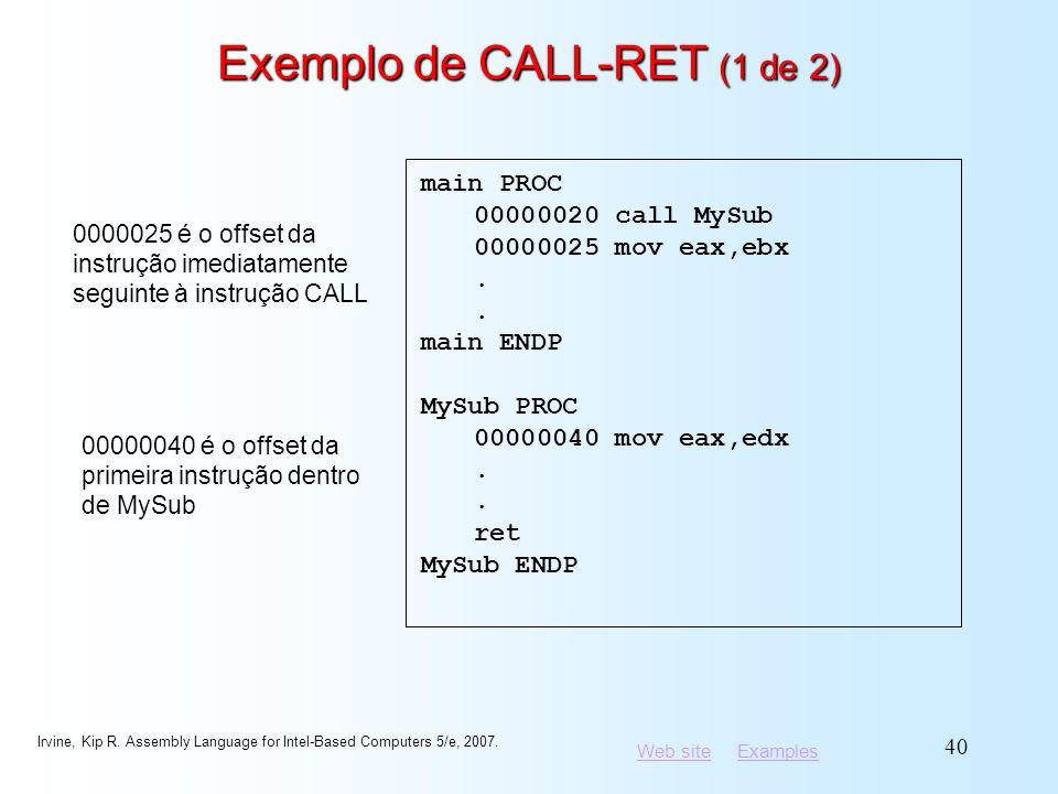 Exemplo de CALL-RET (1 de 2)