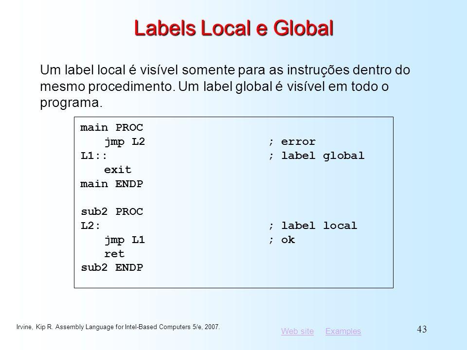 Labels Local e Global Um label local é visível somente para as instruções dentro do mesmo procedimento. Um label global é visível em todo o programa.