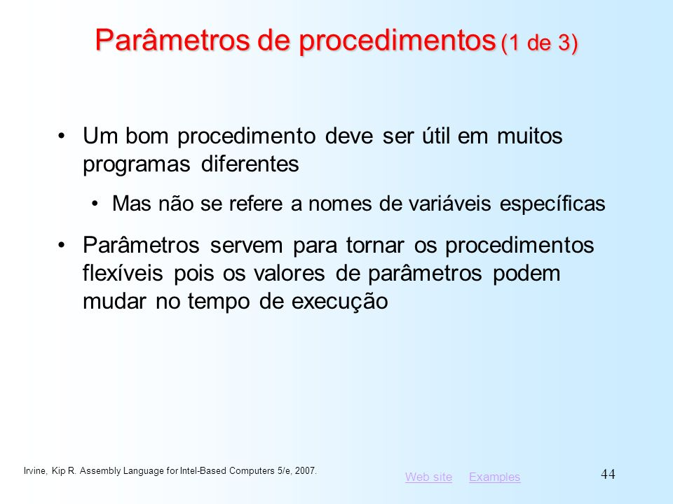 Parâmetros de procedimentos (1 de 3)