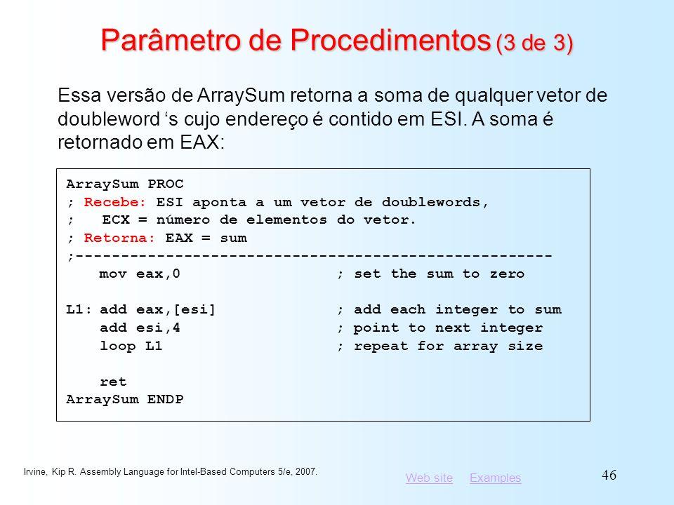 Parâmetro de Procedimentos (3 de 3)