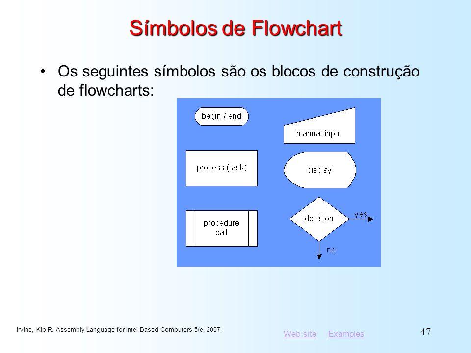 Símbolos de Flowchart Os seguintes símbolos são os blocos de construção de flowcharts: