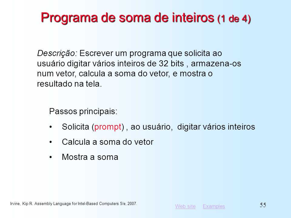 Programa de soma de inteiros (1 de 4)