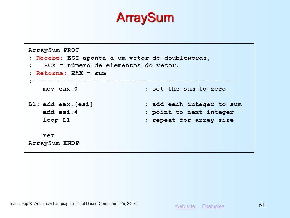 ArraySum ArraySum PROC ; Recebe: ESI aponta a um vetor de doublewords,