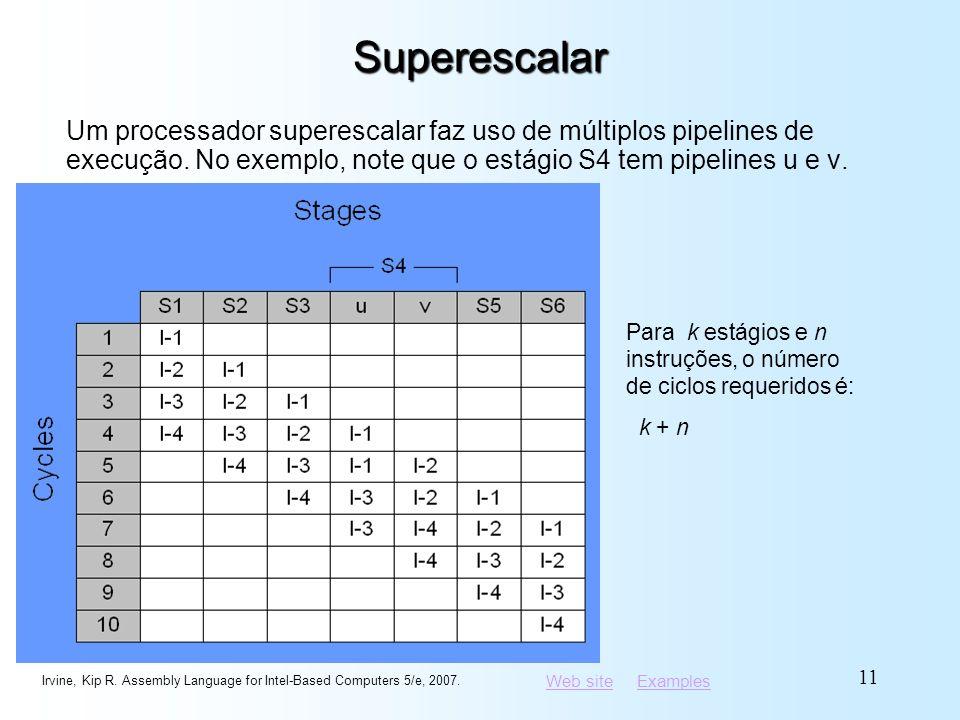 Superescalar Um processador superescalar faz uso de múltiplos pipelines de execução. No exemplo, note que o estágio S4 tem pipelines u e v.