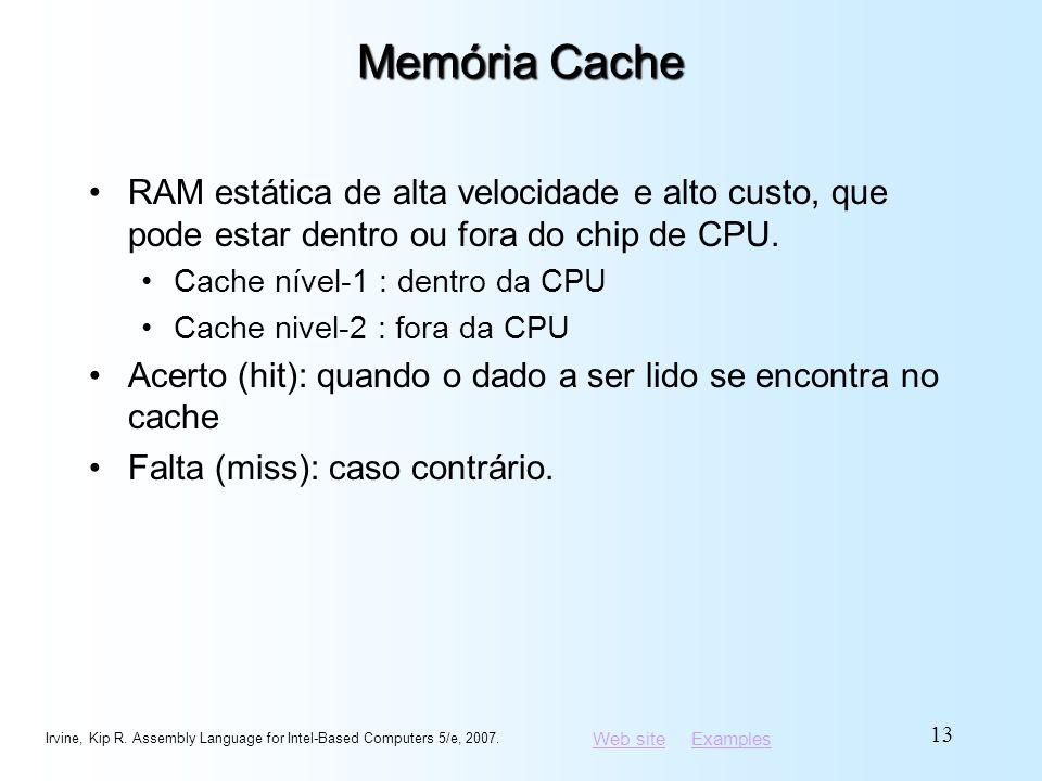 Memória Cache RAM estática de alta velocidade e alto custo, que pode estar dentro ou fora do chip de CPU.