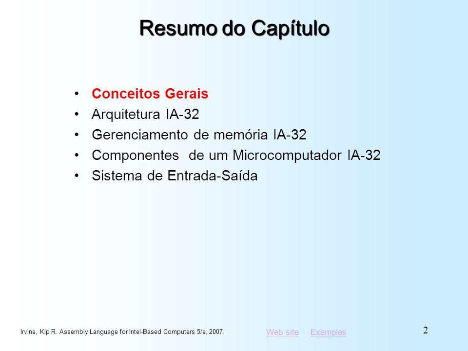 Resumo do Capítulo Conceitos Gerais Arquitetura IA-32