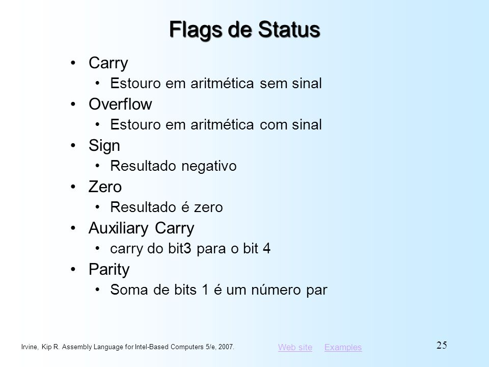 Flags de Status Carry Overflow Sign Zero Auxiliary Carry Parity