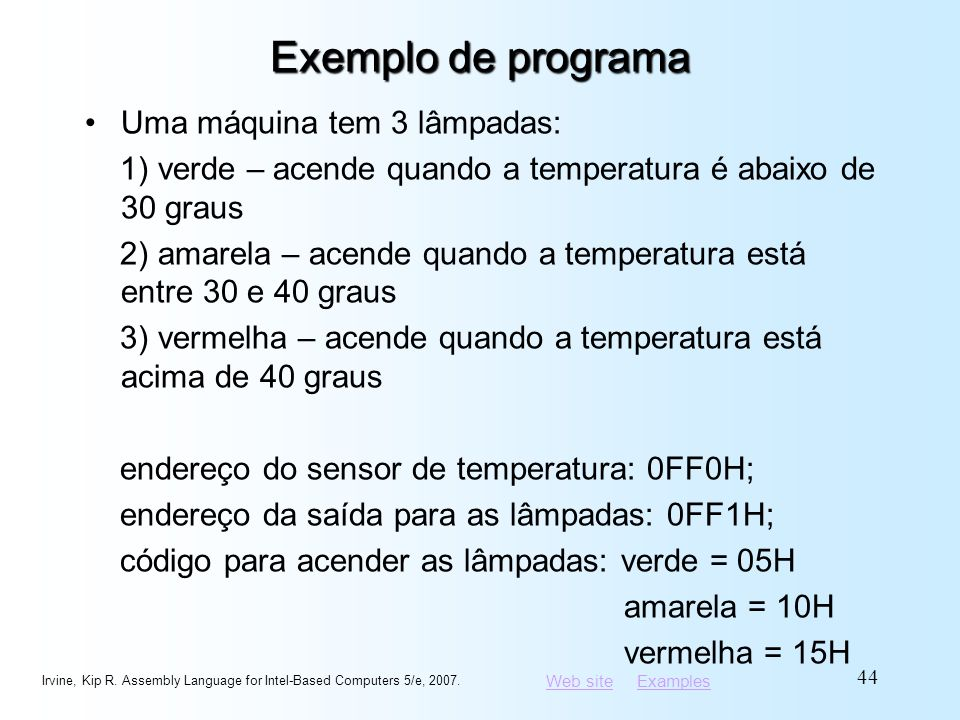 Exemplo de programa Uma máquina tem 3 lâmpadas: