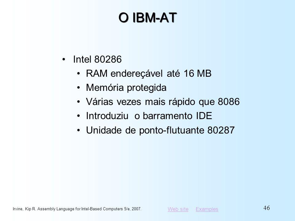 O IBM-AT Intel 80286 RAM endereçável até 16 MB Memória protegida