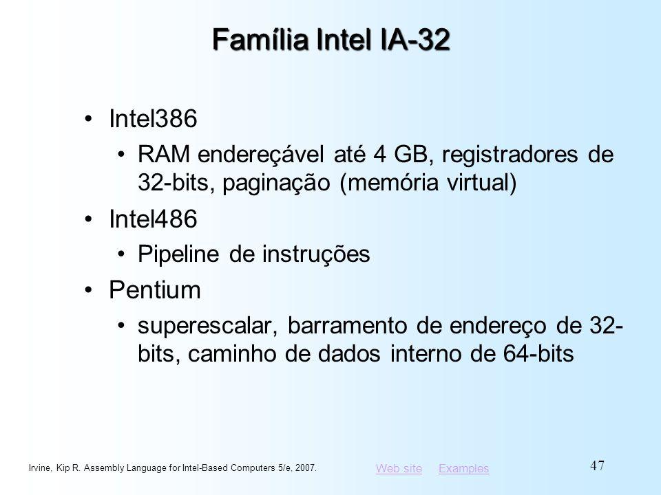 Família Intel IA-32 Intel386 Intel486 Pentium