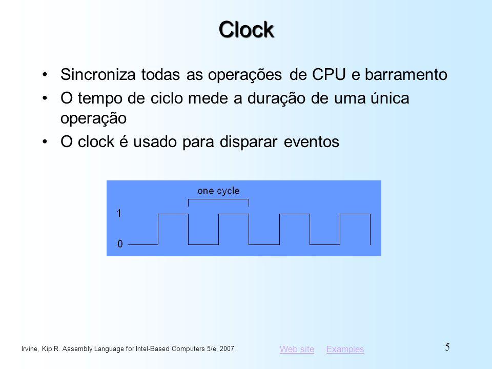 Clock Sincroniza todas as operações de CPU e barramento