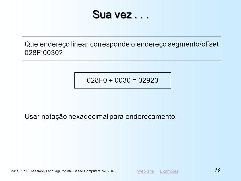 Sua vez . . . Que endereço linear corresponde o endereço segmento/offset 028F:0030 028F0 + 0030 = 02920.