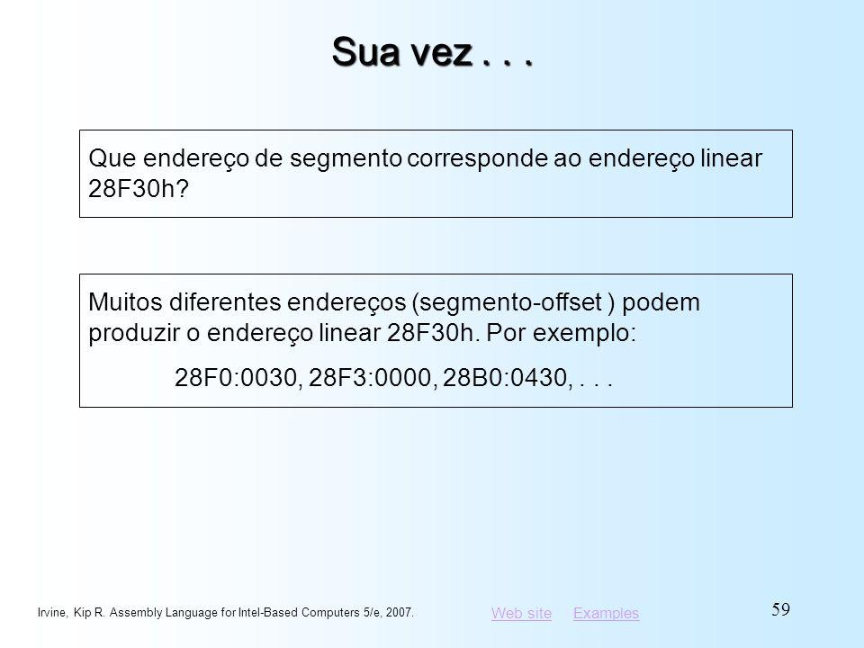 Sua vez . . . Que endereço de segmento corresponde ao endereço linear 28F30h