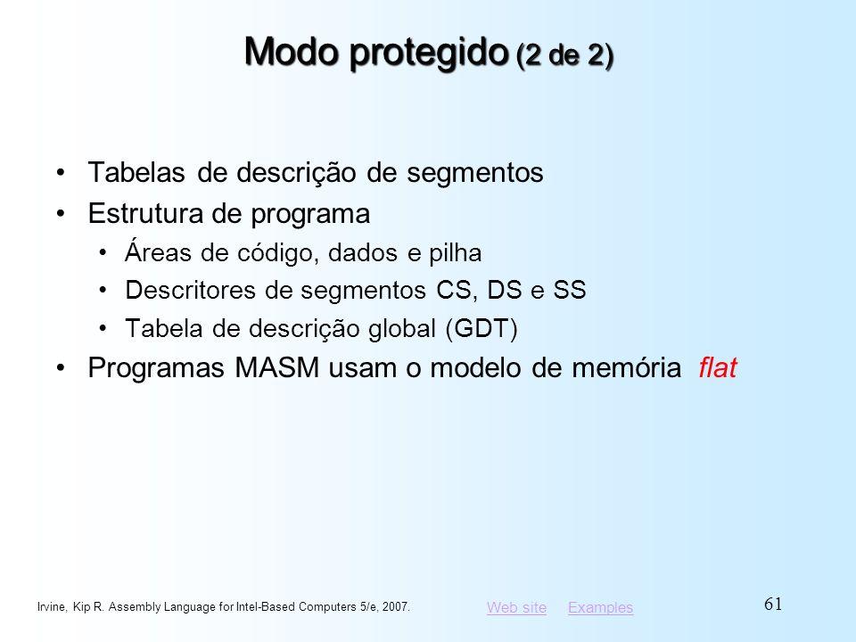 Modo protegido (2 de 2) Tabelas de descrição de segmentos