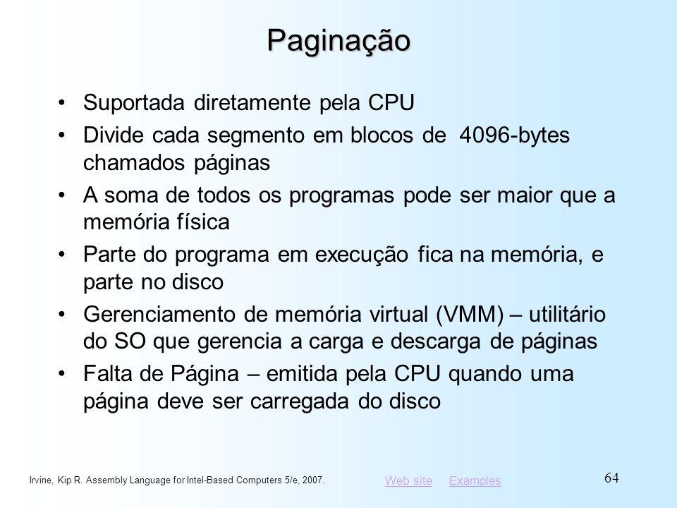 Paginação Suportada diretamente pela CPU