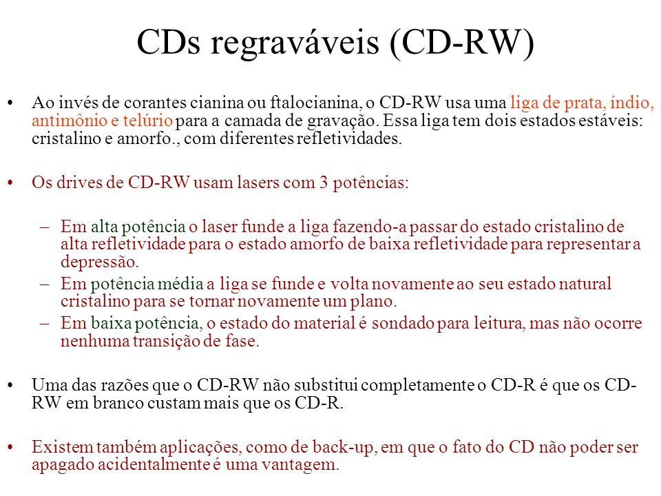CDs regraváveis (CD-RW)