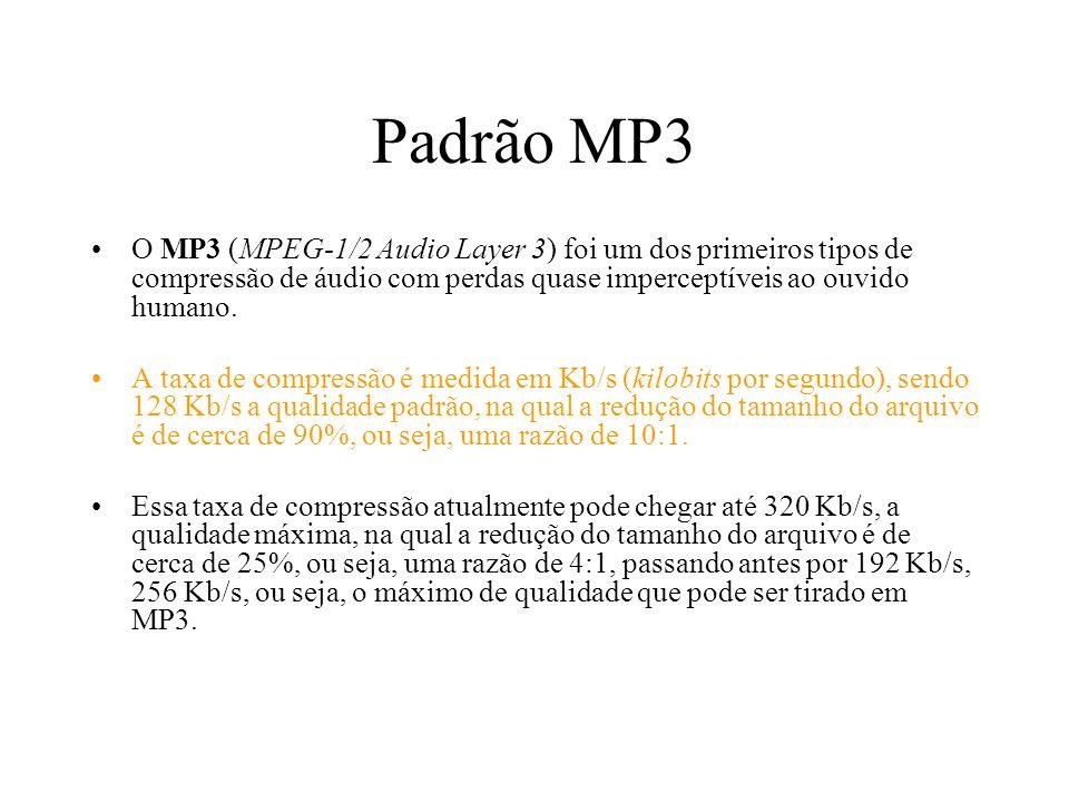 Padrão MP3 O MP3 (MPEG-1/2 Audio Layer 3) foi um dos primeiros tipos de compressão de áudio com perdas quase imperceptíveis ao ouvido humano.