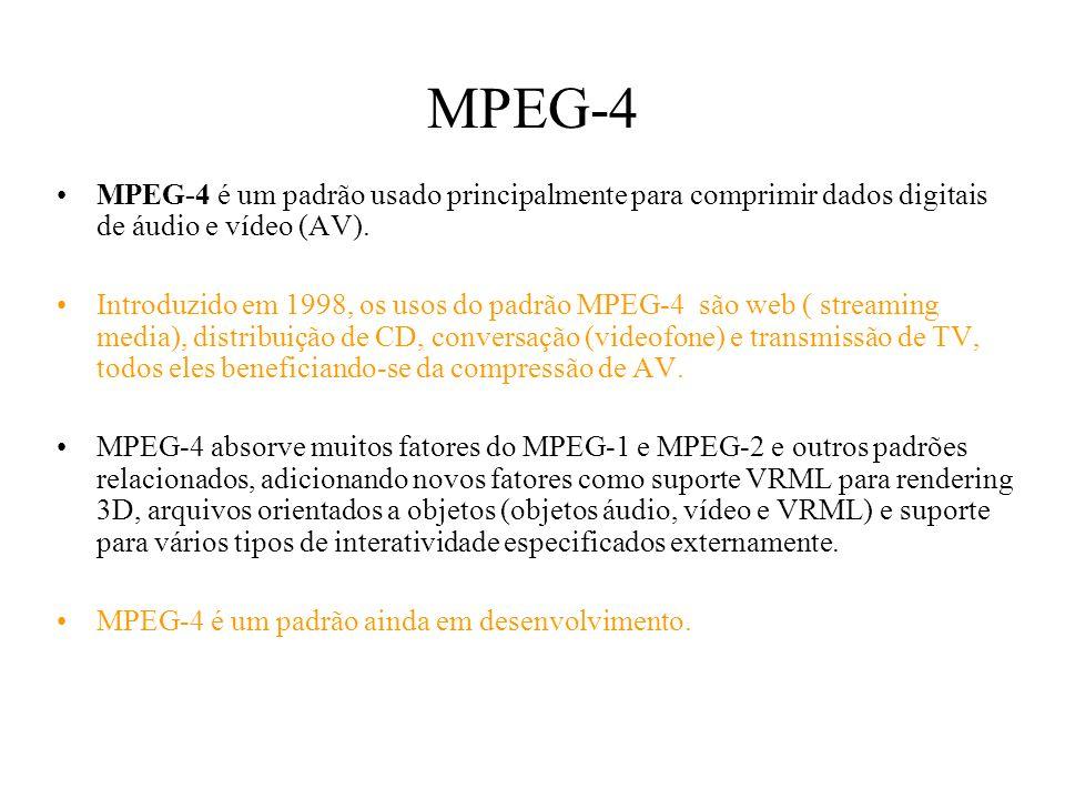 MPEG-4 MPEG-4 é um padrão usado principalmente para comprimir dados digitais de áudio e vídeo (AV).