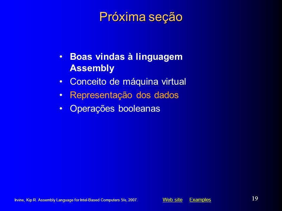 Próxima seção Boas vindas à linguagem Assembly
