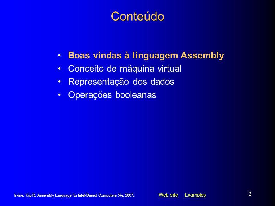 Conteúdo Boas vindas à linguagem Assembly Conceito de máquina virtual