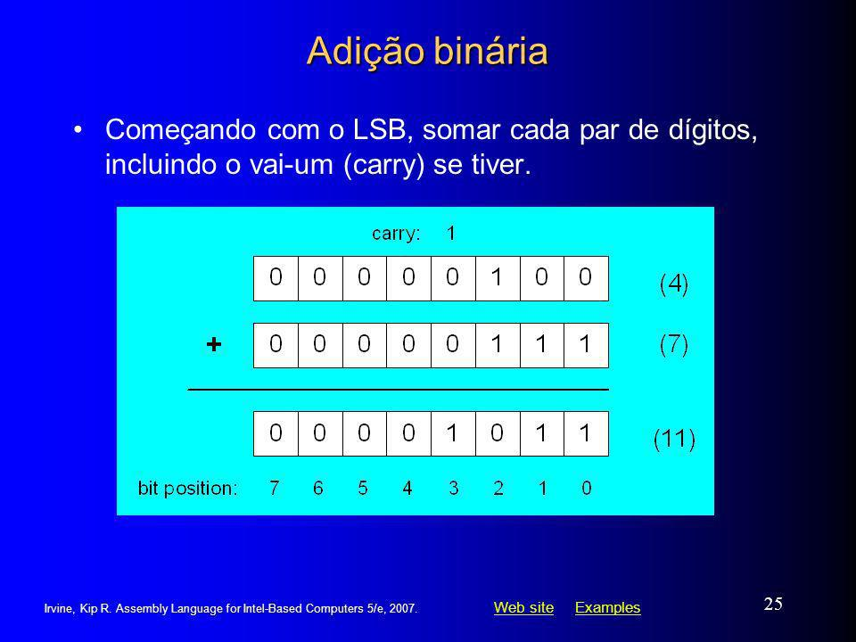 Adição binária Começando com o LSB, somar cada par de dígitos, incluindo o vai-um (carry) se tiver.