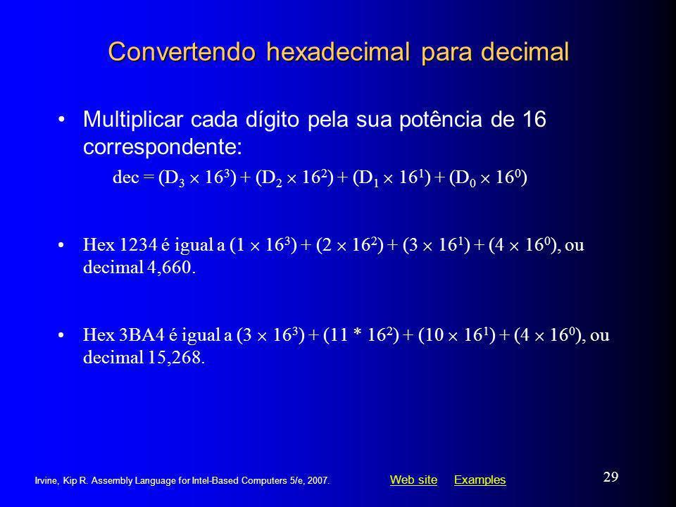 Convertendo hexadecimal para decimal