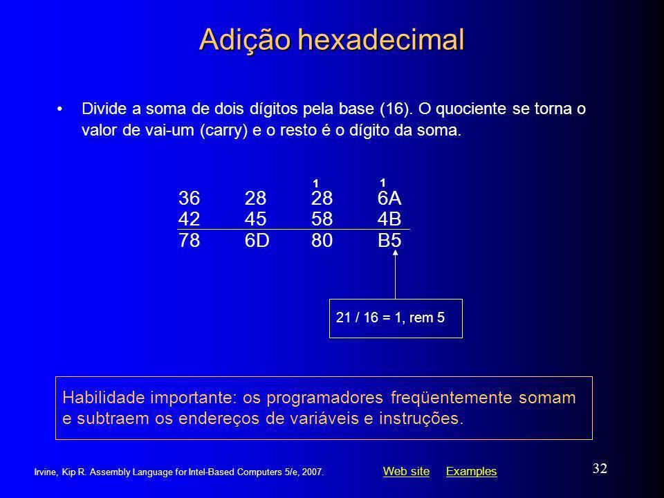 Adição hexadecimal 36 28 28 6A 42 45 58 4B 78 6D 80 B5