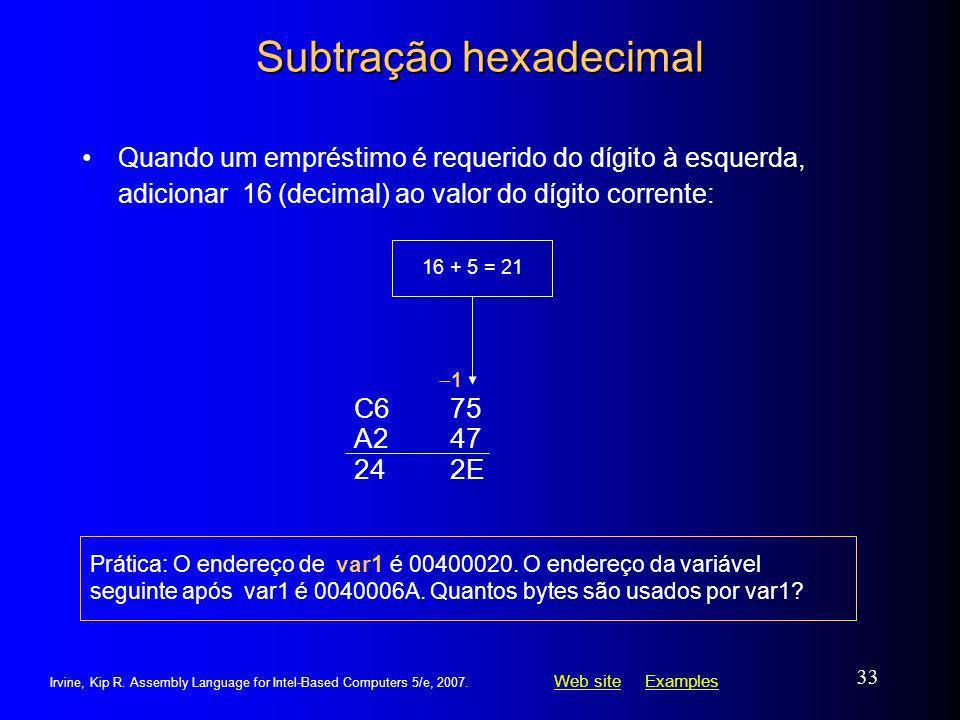 Subtração hexadecimal