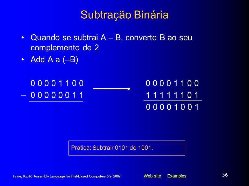 Subtração Binária Quando se subtrai A – B, converte B ao seu complemento de 2. Add A a (–B) 0 0 0 0 1 1 0 0 0 0 0 0 1 1 0 0.