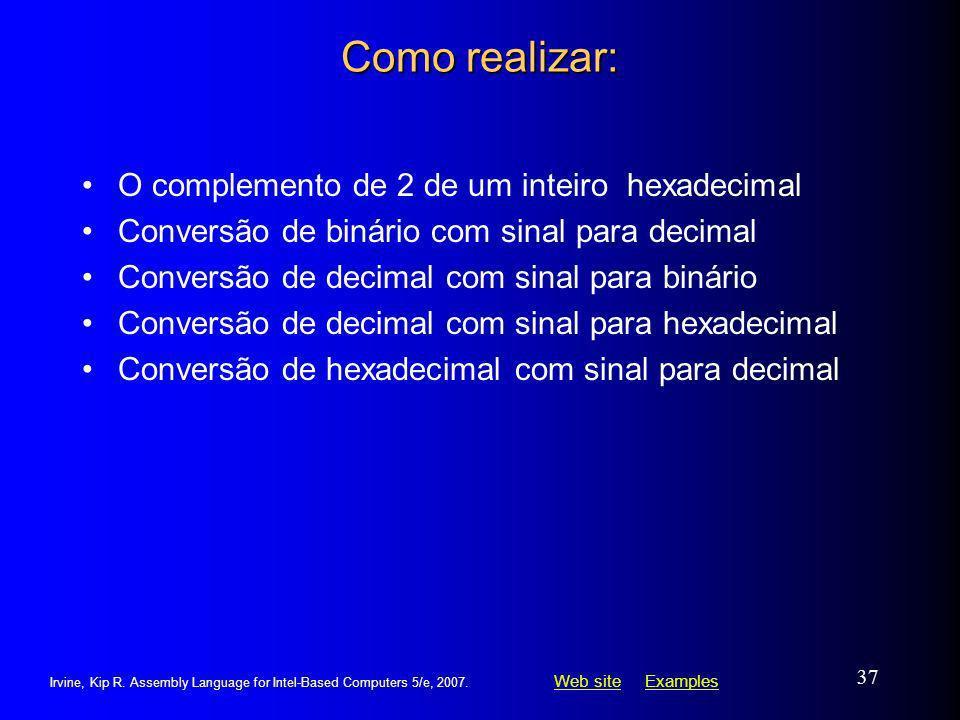Como realizar: O complemento de 2 de um inteiro hexadecimal
