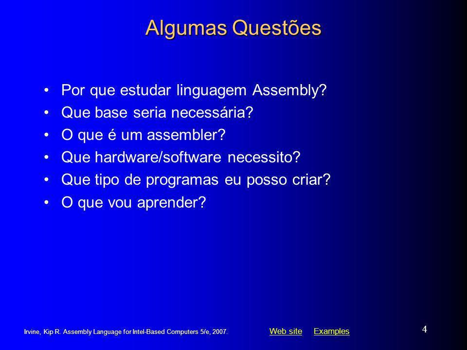 Algumas Questões Por que estudar linguagem Assembly