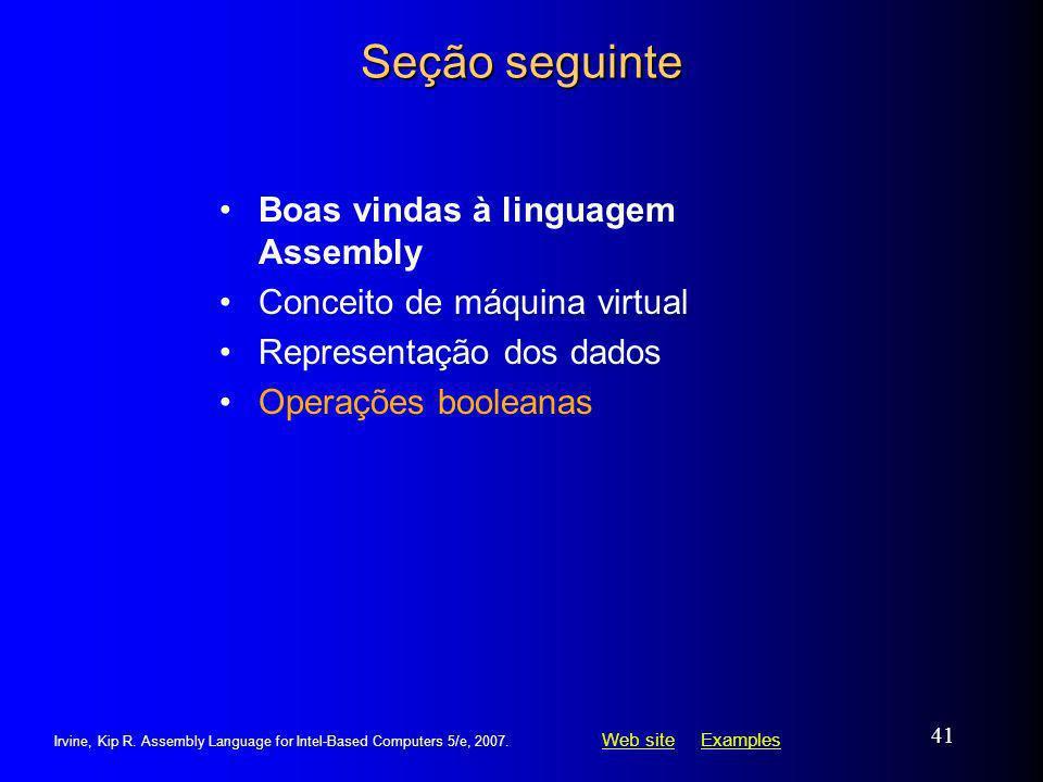 Seção seguinte Boas vindas à linguagem Assembly