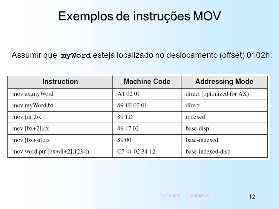 Exemplos de instruções MOV
