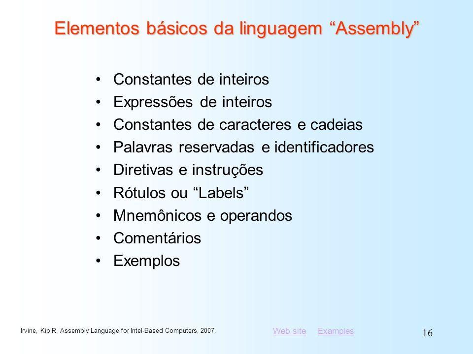 Elementos básicos da linguagem Assembly