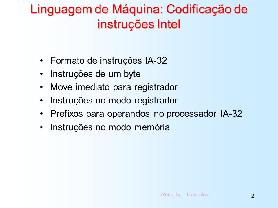 Linguagem de Máquina: Codificação de instruções Intel