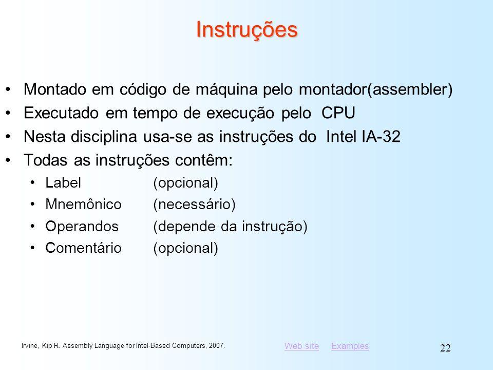 Instruções Montado em código de máquina pelo montador(assembler)