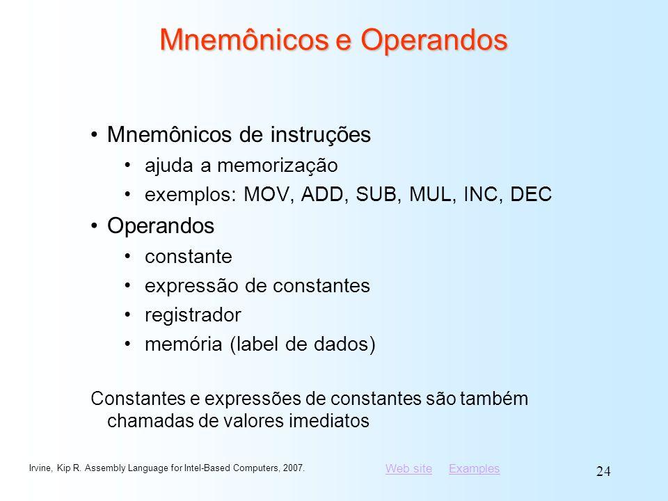 Mnemônicos e Operandos
