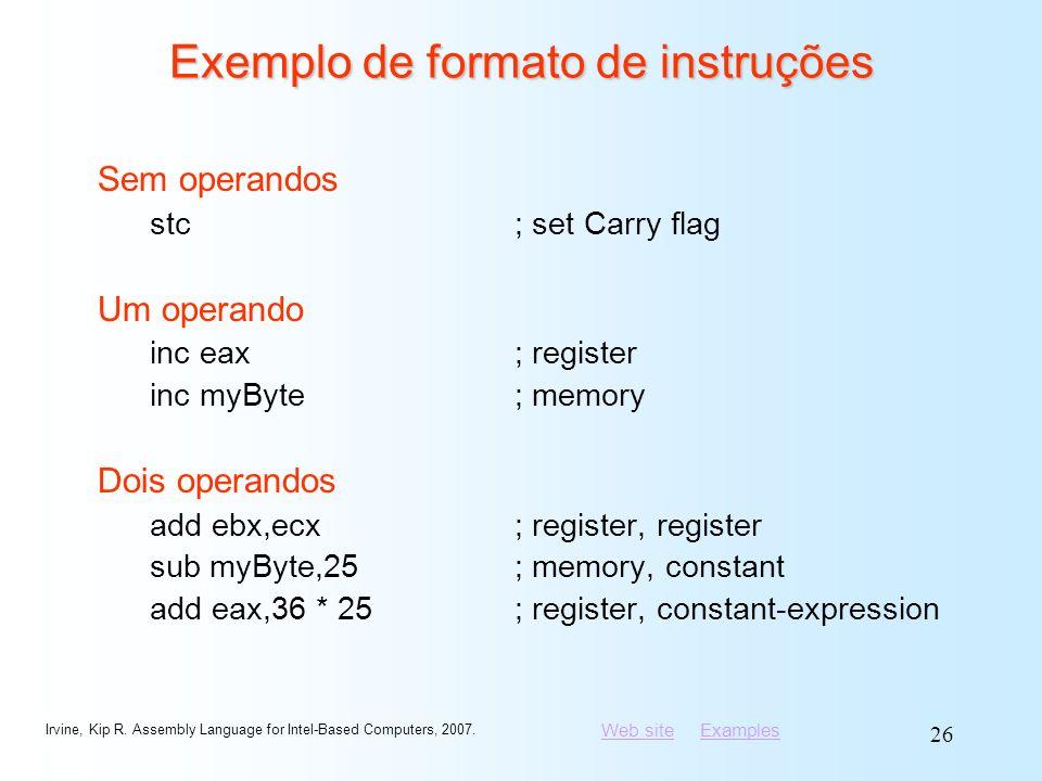Exemplo de formato de instruções
