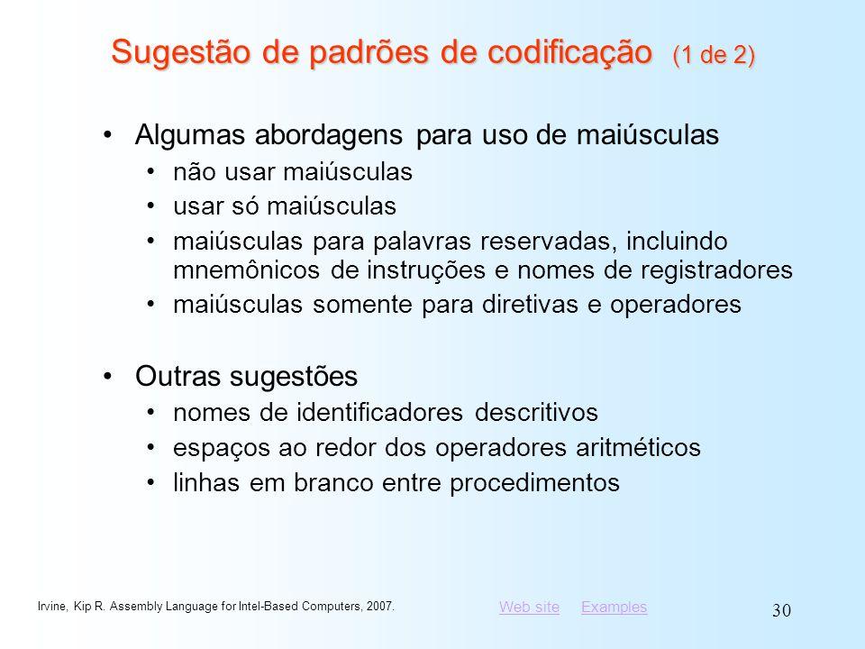 Sugestão de padrões de codificação (1 de 2)