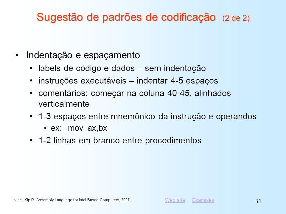 Sugestão de padrões de codificação (2 de 2)
