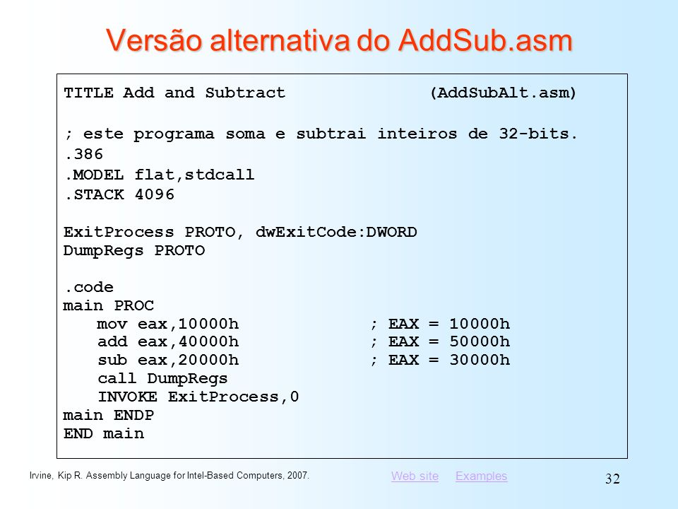 Versão alternativa do AddSub.asm